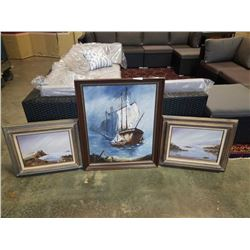 SHIP AND 2 BEACH PAINTINGS ON CANVAS