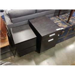 ROLLING FILING DRAWER AND 2 DRAWER NIGHTSTAND