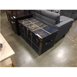 BLUE METAL SHIPPING TRUNK W/CONTENTS