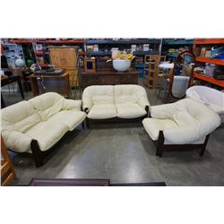 3 PIECE WOOD FRAMED LEATHER SOFA SET - 2 LOVESEATS AND ARMCHAIR