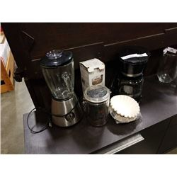 BLENDER, COFFEE MACHINE, COFFEE GRINDER, AND COFFEE SUPPLIES - BEANS, CANNTISTER, FILTERS, ETC - COM