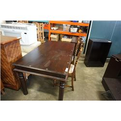 RUSTIC STUDDED DINING TABLE WITH 2 BARLEY TWIST CHAIRS