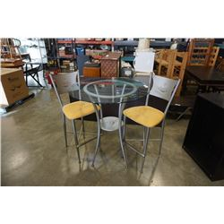 GLASSTOP METAL BISTRO TABLE WITH 2 STOOLS CAFE THEME