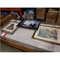 SIGNED  GENE MURRAY PICTURE, ORCA PRINT, AND OTHER FRAMED PRINT