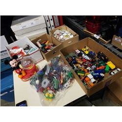 3 boxes of toy cars and pogs with box of mcdonalds toys
