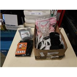 BOX OF SUPPORT BRACES AND EARBUDS