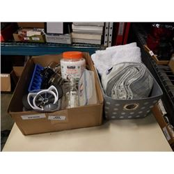 BOX AND STORAGE BASKET OF HOUSEHOLD ITEMS - STAINLESS  BOWL, BATH MAT, TABLE RUNNER, ETC