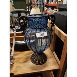 CAST IRON AND GLASS VASE