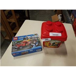 TOTE OF LEGO AND LEGO TRUCK AND LEGO CITY SET