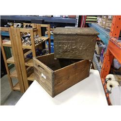 BRASS FIREBOX AND WOOD CRATE