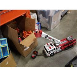 RC tethered fire truck and thomas the train playset