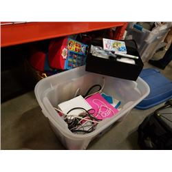 Tote of wii console, cords and wiimotes with games and accessories
