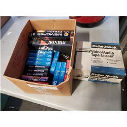 RadioShack video audiotape eraser and lot of blank cassette tapes