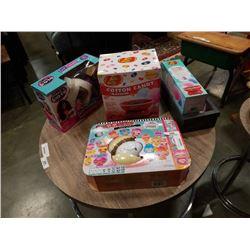 Cotton candy machine and kit with sew crazy machine, smooshines and flamingo