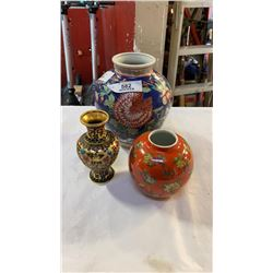 3 EASTERN VASES - 1 CLOISONNE AND 2 CERAMIC