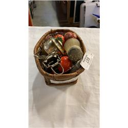 2 Basket of vintage scale, spice shakers and more
