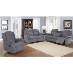 BRAND NEW 3 PIECE GREY FABRIC RECLINING SOFA SET - RETAIL $2299 ROCKER RECLINER, LOVE SEAT, AND SOFA