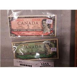 1954 CANADIAN 1 AND 2 DOLLAR  BILLS