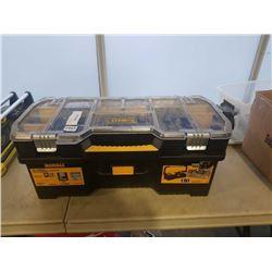 DEWALT TOOL BOX WITH BIKE REPAIR TOOLS, PARK TOOLS, DISC BRAKE CALIPERS, ETC