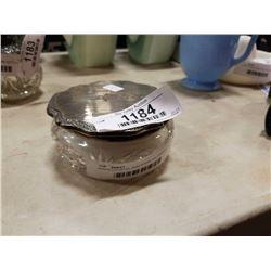 BIRKS CRYSTAL AND STERLING DRESSER JAR W/ POUF