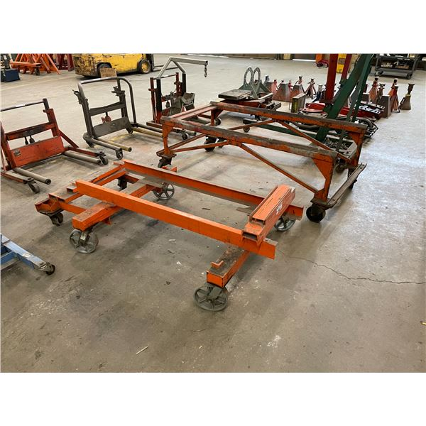 ORANGE HEAVY DUTY INDUSTRIAL MOBILE ENGINE CART AND BARREL CART
