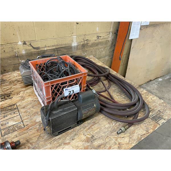 2 ELECTRIC HIGH VACUUM PUMPS, EXTENSION CORD AND AIR HOSE