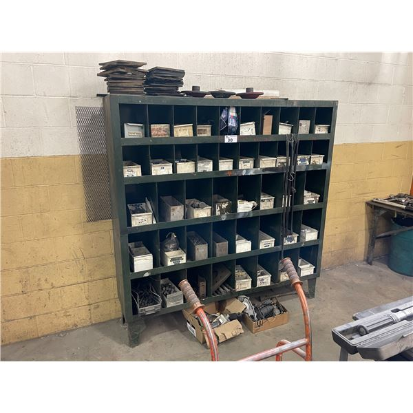 44 BAY GREEN METAL HARDWARE SHELF W72  X D16  X H72  WITH HEAVY DUTY HARDWARE AND PARTS