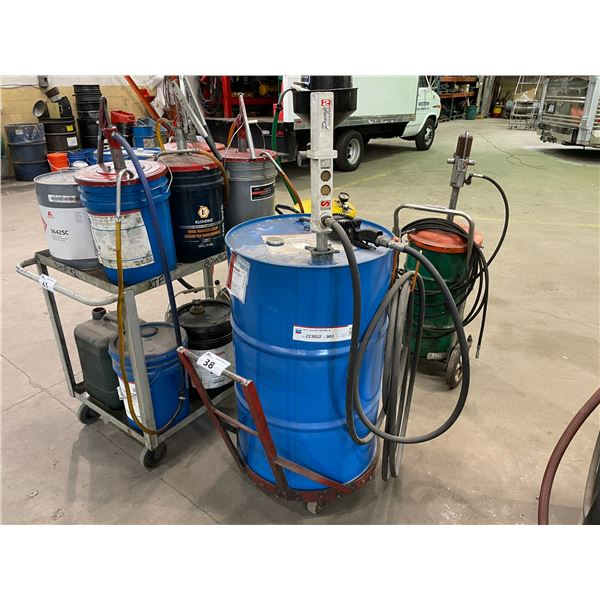 CHEVRON DELO GEAR EP-5 SAE 80W-90 OIL BARREL ON CART WITH PUMP MASTER 2 AND DIGITAL DISPENSING WAND