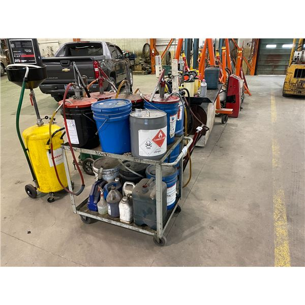 GREY 2 TIER MOBILE SHOP CART WITH ASSORTED OILS AND HAND PUMPS