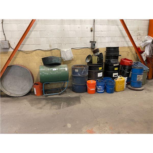 ASSORTED OIL BARRELS, DRAIN PANS AND BARREL CARTS