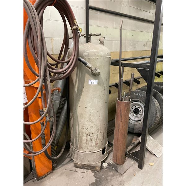 *APR 30 REMOVAL * GREY METAL UPRIGHT COMPRESSED AIR STORAGE TANK AND HOSES