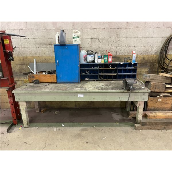 GREY INDUSTRIAL WORK BENCH WITH MOUNTED NUMBER 6 VICE, CABINET AND ASSORTED CONTENTS