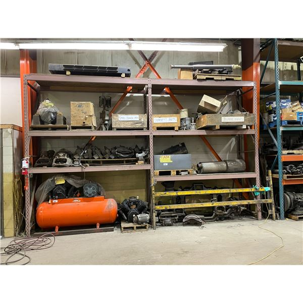 11 BAYS OF ASSORTED SIZE INDUSTRIAL PALLET RACKING (LOCATED IN AUTOMOTIVE REPAIR BAY)