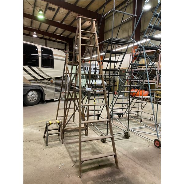 10' WOODEN STEP LADDER, 7' WOODEN STEP LADDER AND 2' WOODEN STEP STOOL