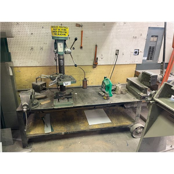METAL MOBILE WORK BENCH, LCN-14 INDUSTRIAL DRILL PRESS, NUMBER 36 VICE, INDUSTRIAL HAND SHEAR AND