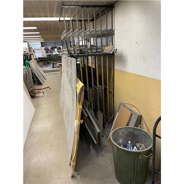 2 TIER 8 SLOT HEAVY DUTY INDUSTRIAL SHEET METAL STORAGE RACK AND REMAINING CONTENTS