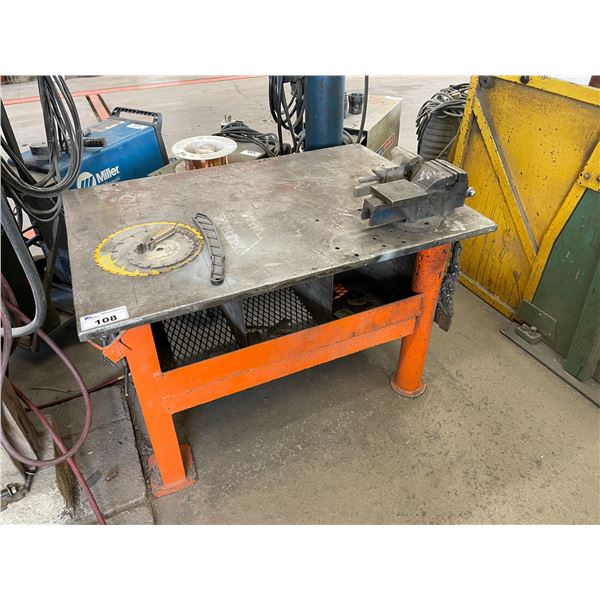 """ORANGE METAL W48"""" X D34"""" X H31"""", ASSORTED SAW BLADES AND 2 BENCH VICES"""