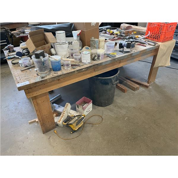 """WOOD WORK BENCH W96"""" X D48"""" X H32"""", WITH REMAINING CONTENTS AND 4 ASSORTED SIZE FIBERGLASS ROLLS"""