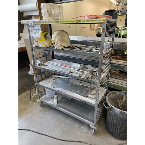 GREY METAL 5 TIER MOBILE STORAGE RACK WITH REMAINING CONTENTS