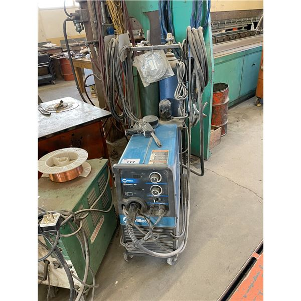 MILLER MILLERMATIC 300 3 PHASE WIRE FEED WELDER WITH GROUND, TRIGGER AND MILLER SPOOLMATIC 30A