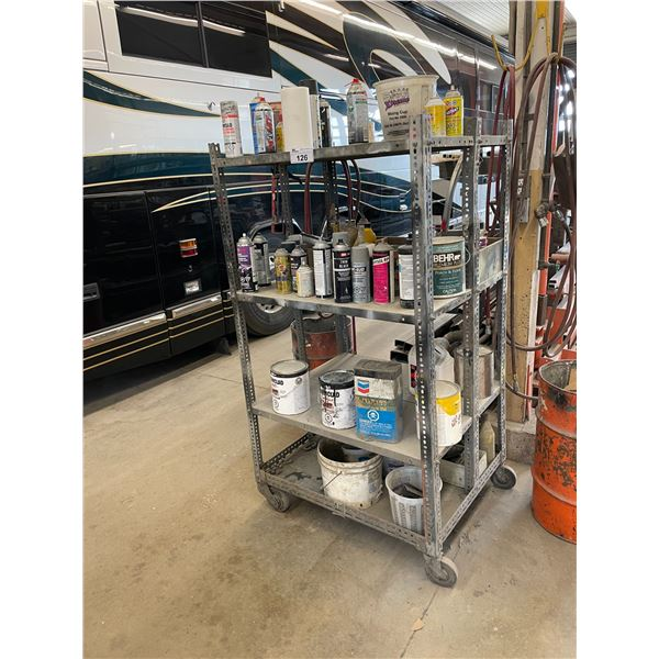 MOBILE 4 TIER PAINT CART AND 2 WHEELED HAND CART