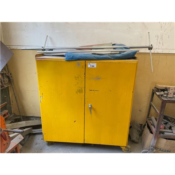 YELLOW METAL MOBILE 2 DOOR STORAGE CABINET WITH WEATHER STRIPPING CONTENTS