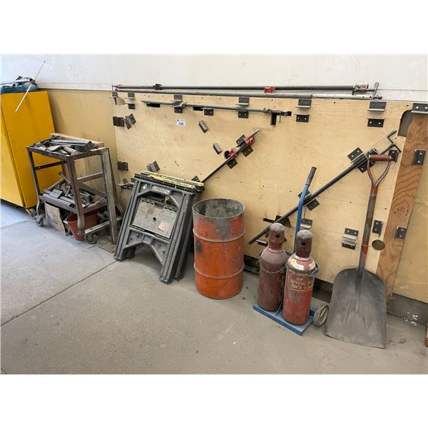 ASSORTED DENT PULLING EQUIPMENT, MOBILE CART, TORCH CART, SAW HORSES AND SHOVE