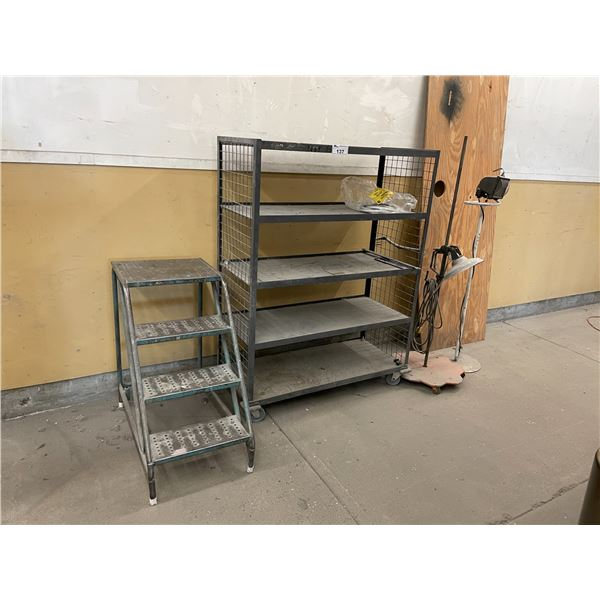 5 TIER METAL MOBILE SHOP CART, 2 WORK LIGHTS AND 4' SHOP STAIR