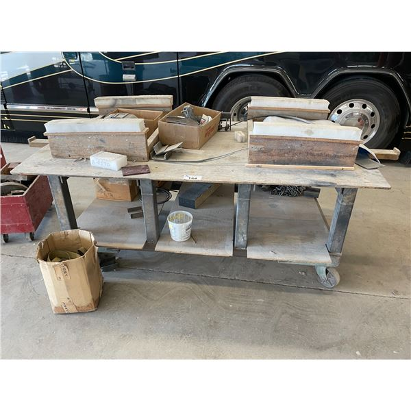"""HEAVY DUTY METAL MOBILE WORK TABLE W85"""" X D50"""" X H32"""" WITH CHAIN HOIST AND REMAINING CONTENTS"""