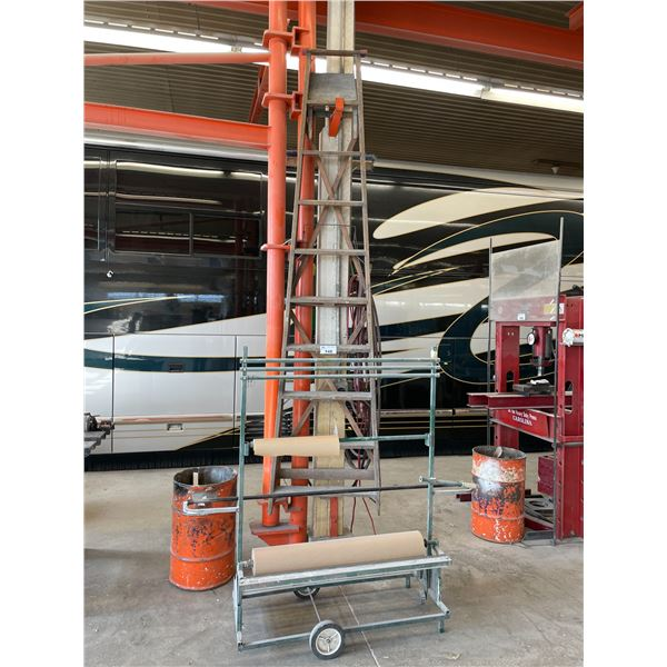 3 - 10' WOODEN STEP LADDERS AND GREEN MOBILE PAPER CART
