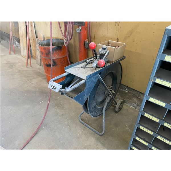 BLACK METAL MOBILE BANDING CART WITH BAND SPOOL AND TOOLING