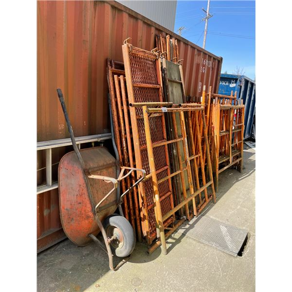 SCAFFOLDING PANELS, CROSS BRACERS, SAFETY RAILS AND CATWALK BOARDS (DISASSEMBLED), 40' ALUMINUM