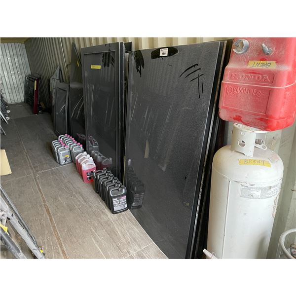CONTENTS OF SHIPPING CONTAINER INCLUDING BUS DOORS, WINDOWS, BUMPERS, STORAGE HATCH DOORS, AND
