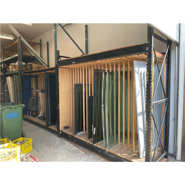 8 - PARTS SHELVES WITH ASSORTED HARDWARE, ELECTRICAL MOTORS, PIPE THREADING/BENDING TOOLS, WORK